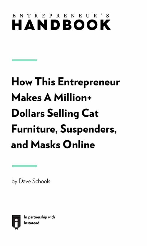 "Book Cover for ""How This Entrepreneur Makes A Million+ Dollars Selling Cat Furniture, Suspenders, and Masks Online"""
