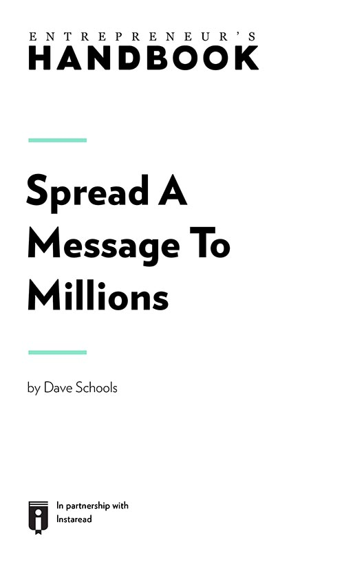 "Book Cover for ""Spread A Message To Millions"""