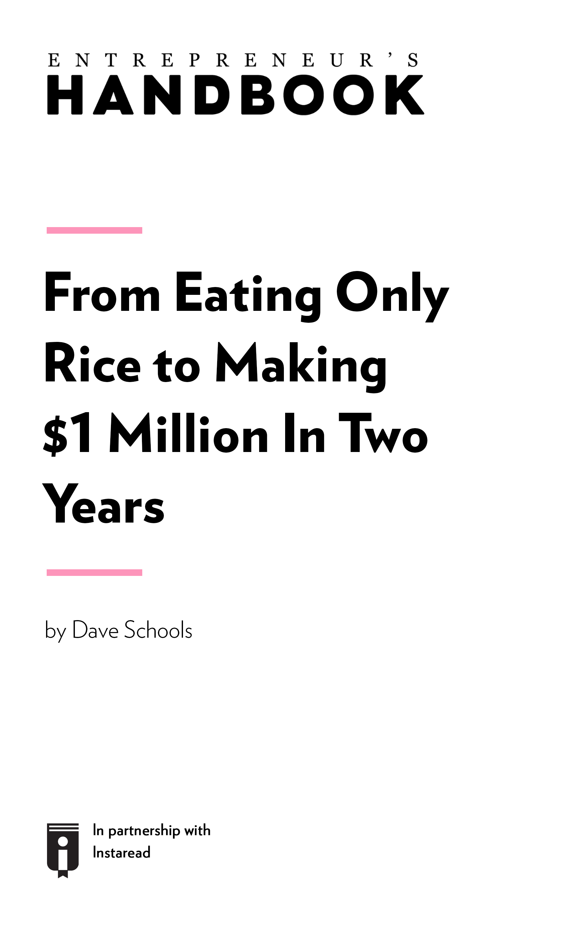 "Book Cover for ""From Eating Only Rice To Making $1 Million In Two Years"""
