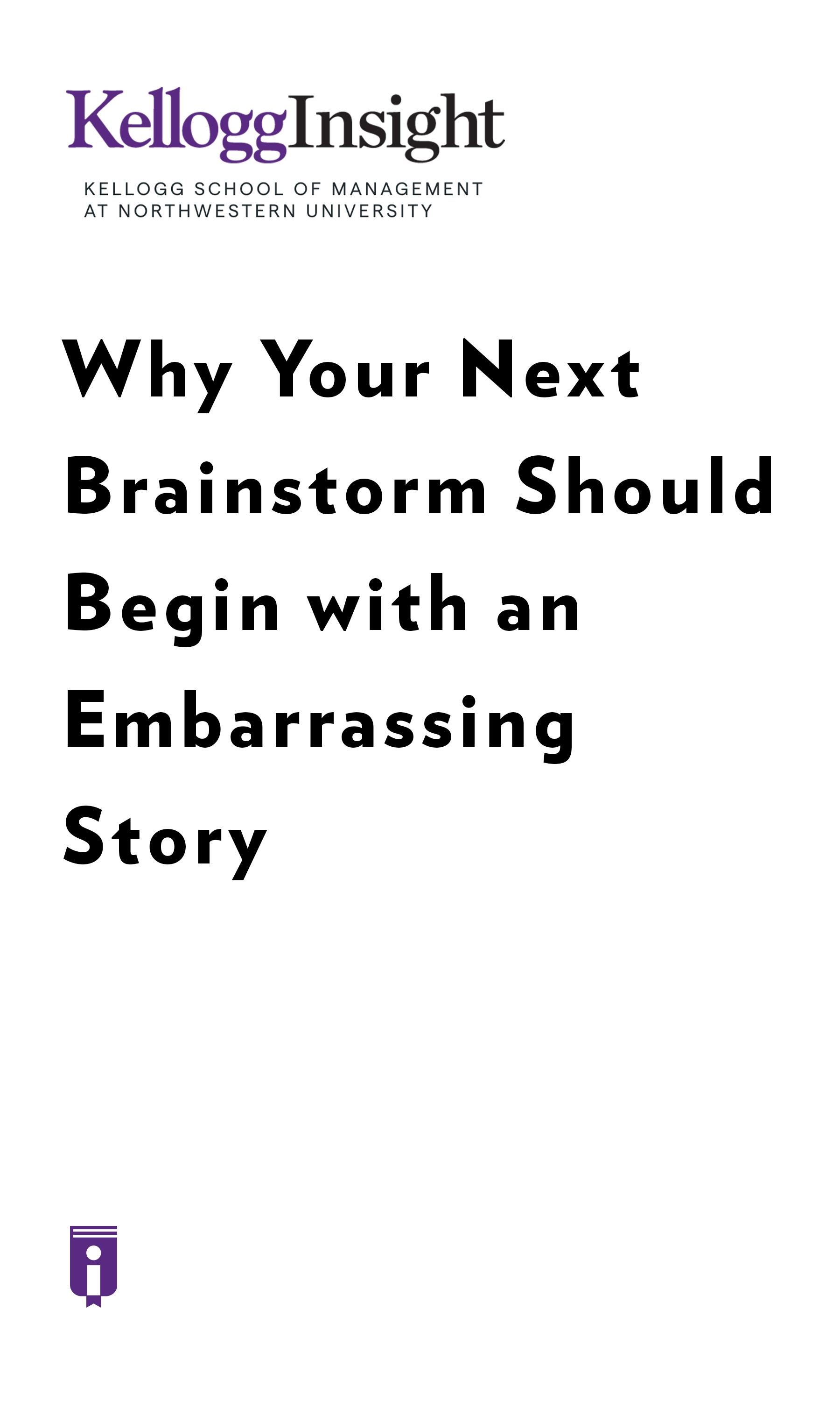 "Book Cover for ""Why Your Next Brainstorm Should Begin with an Embarrassing Story"""