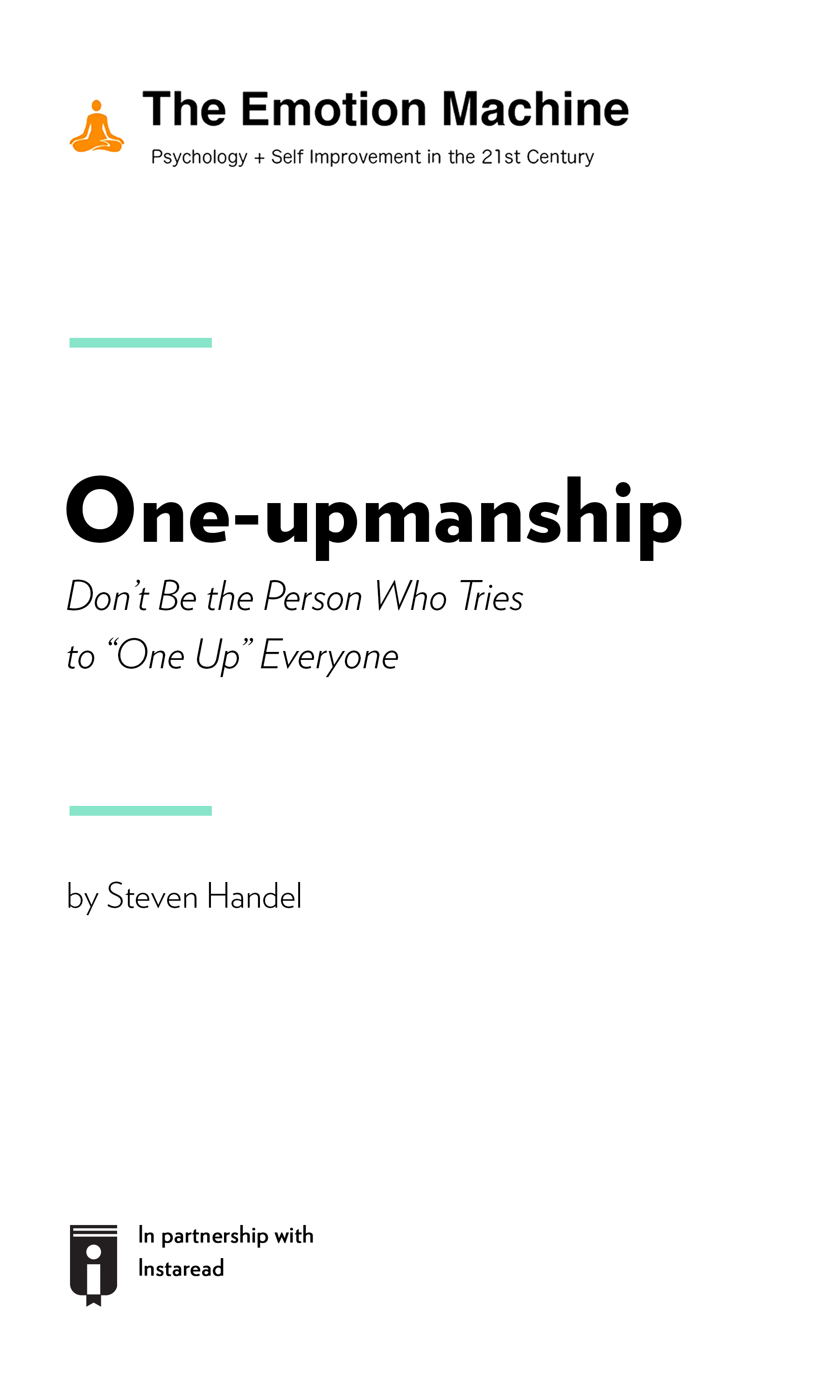 """Book Cover for """"One-upmanship: Don't Be the Person Who Tries to """"One Up"""" Everyone"""""""