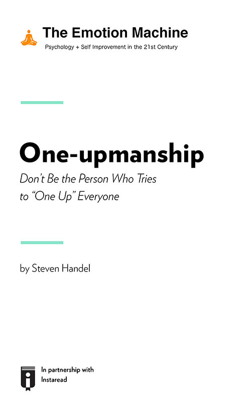 "Book Cover for ""One-upmanship: Don't Be the Person Who Tries to ""One Up"" Everyone"""
