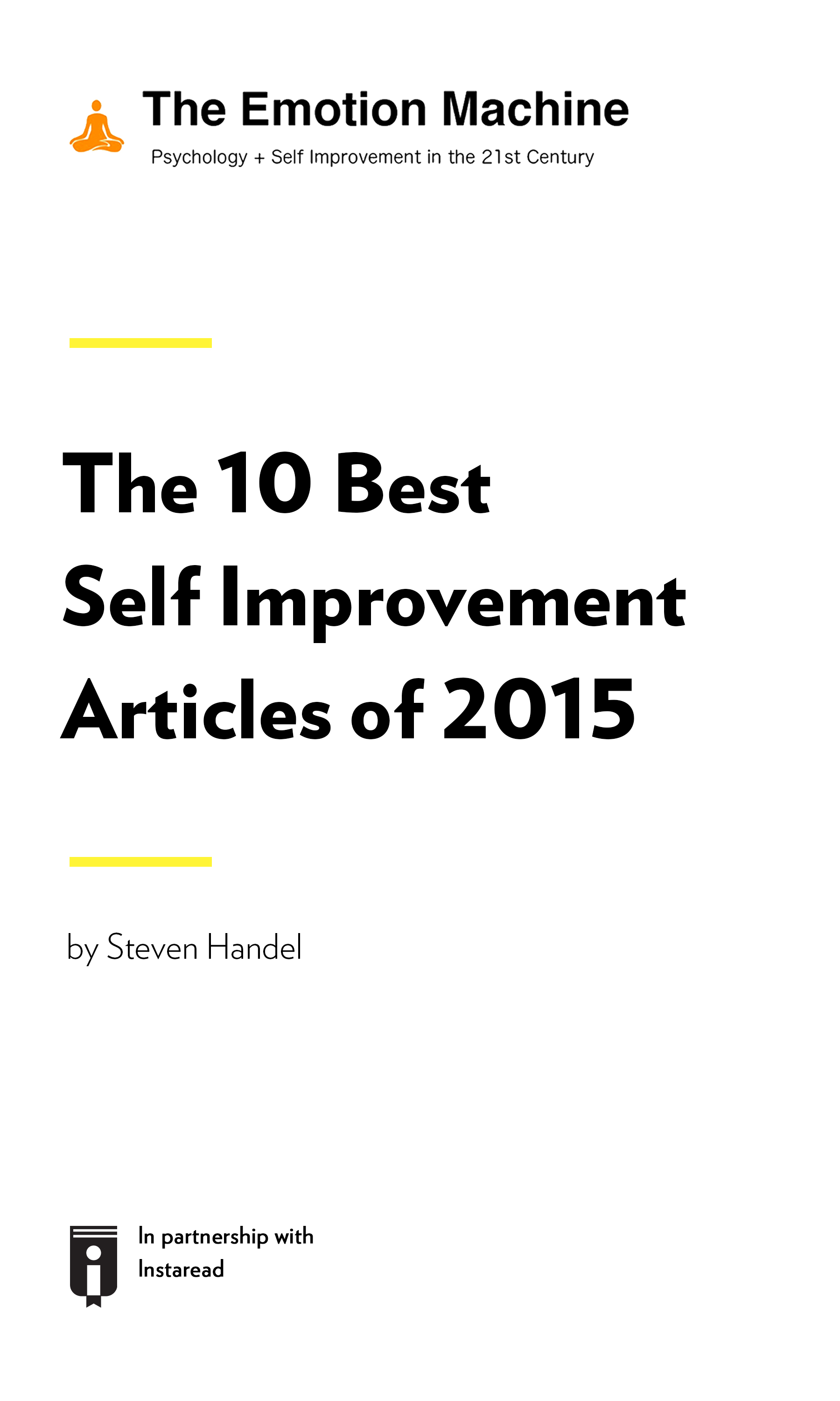 """Book Cover for """"The 10 Best Self Improvement Articles of 2015"""""""