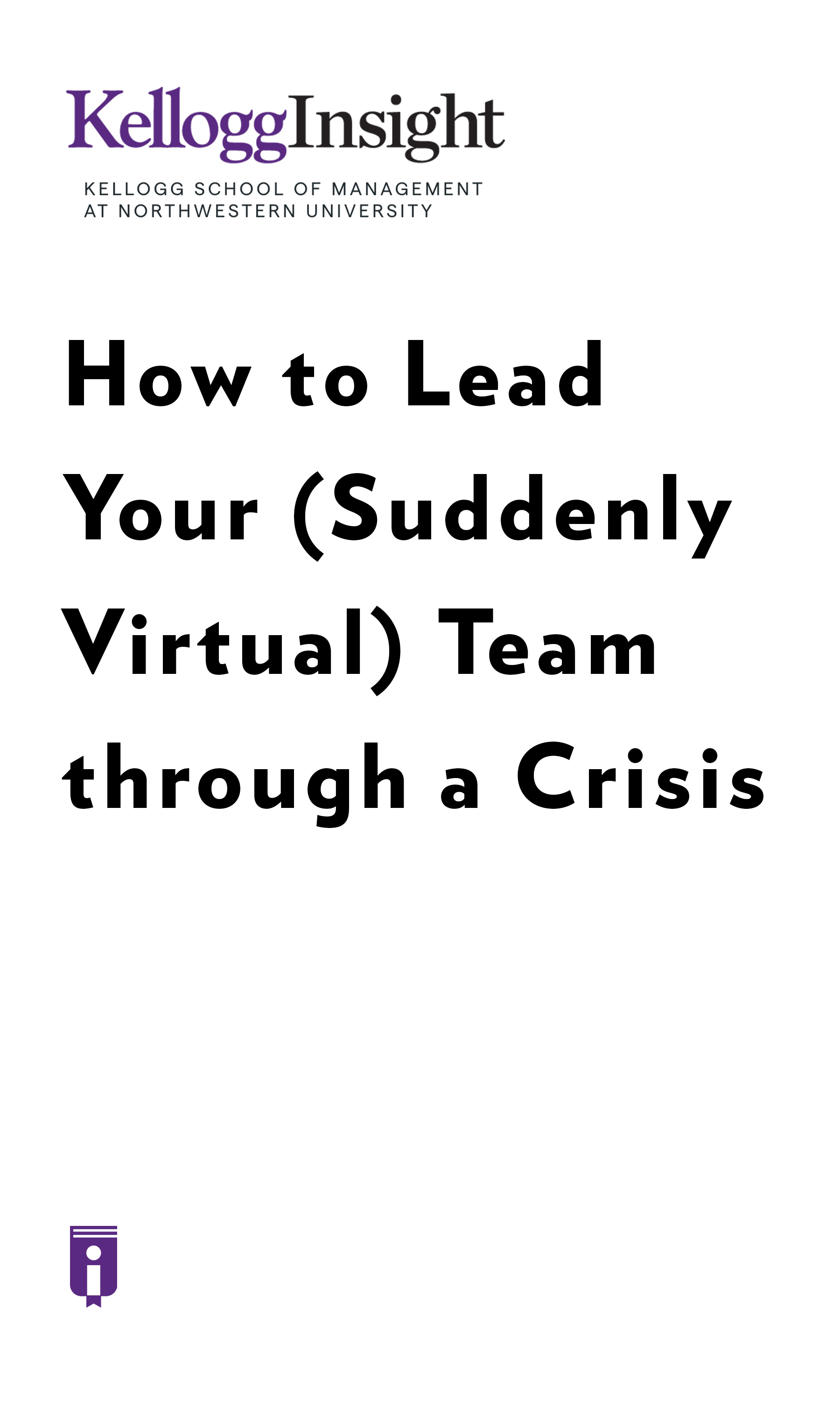 """Book Cover for """"How to Lead Your (Suddenly Virtual) Team through a Crisis"""""""