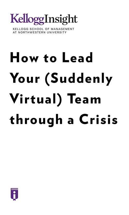 "Book Cover for ""How to Lead Your (Suddenly Virtual) Team through a Crisis"""