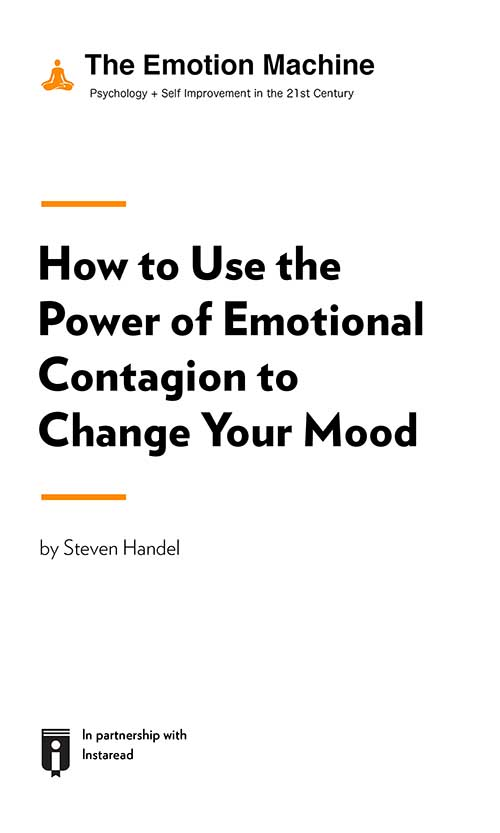 "Book Cover for ""How to Use the Power of Emotional Contagion to Change Your Mood"""