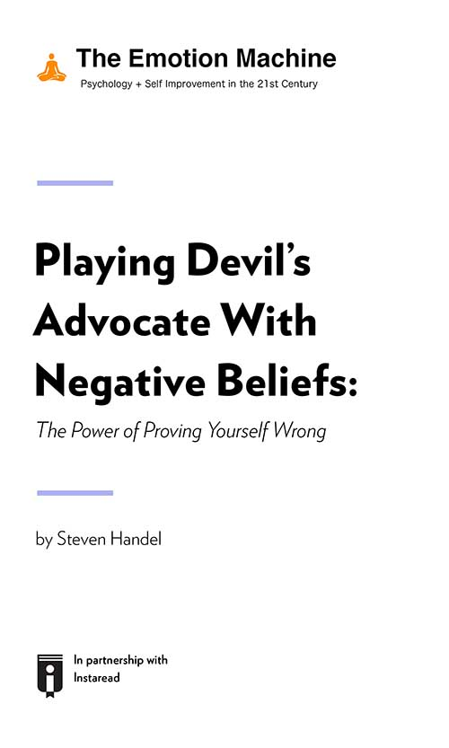 "Book Cover for ""Playing Devil's Advocate With Negative Beliefs: The Power of Proving Yourself Wrong"""