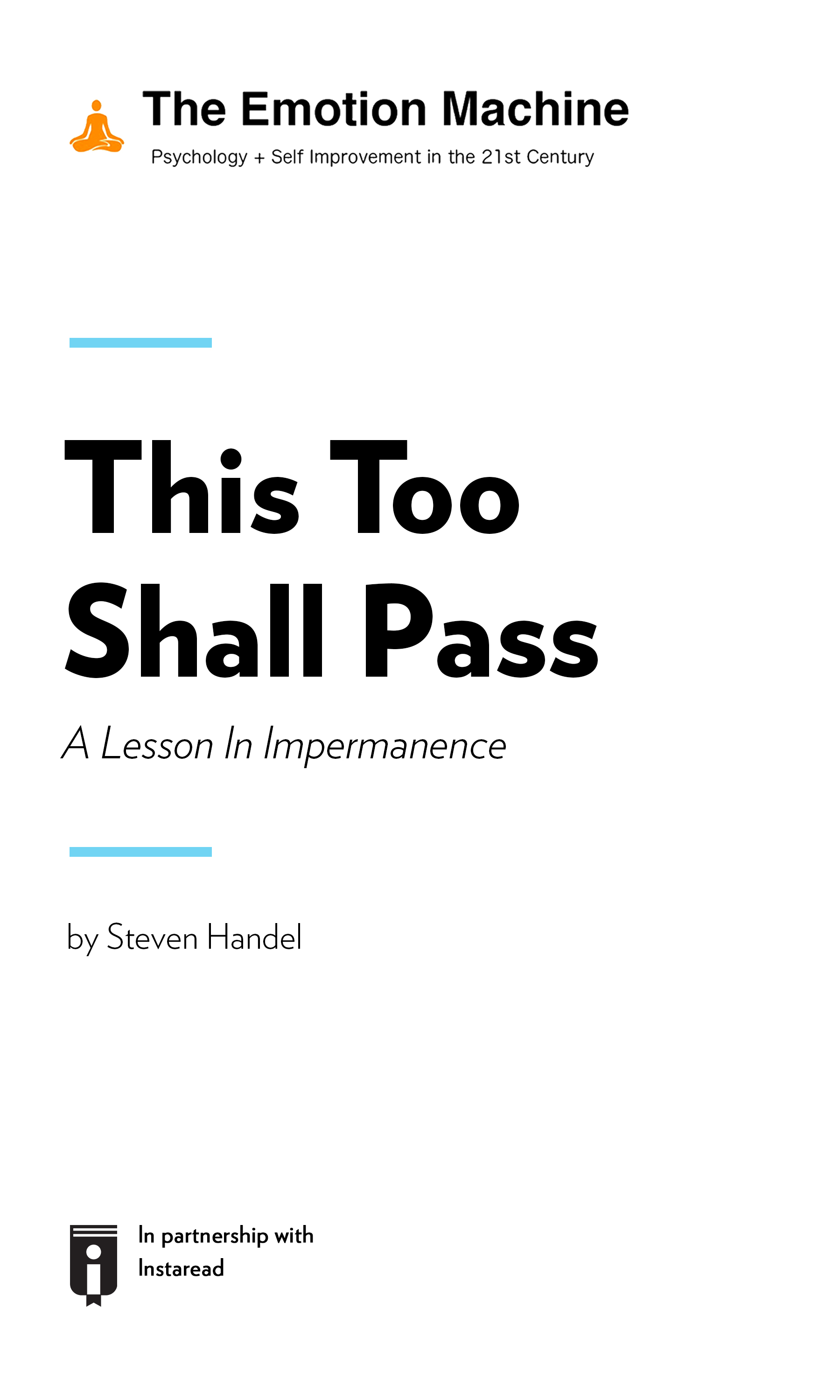 """Book Cover for """"This Too Shall Pass: A Lesson In Impermanence"""""""