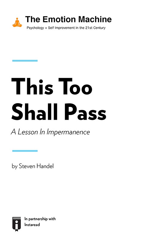 "Book Cover for ""This Too Shall Pass: A Lesson In Impermanence"""