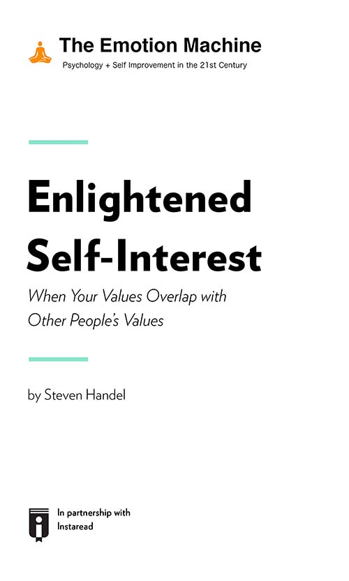 "Book Cover for ""Enlightened Self-Interest: When Your Values Overlap with Other People's Values"""