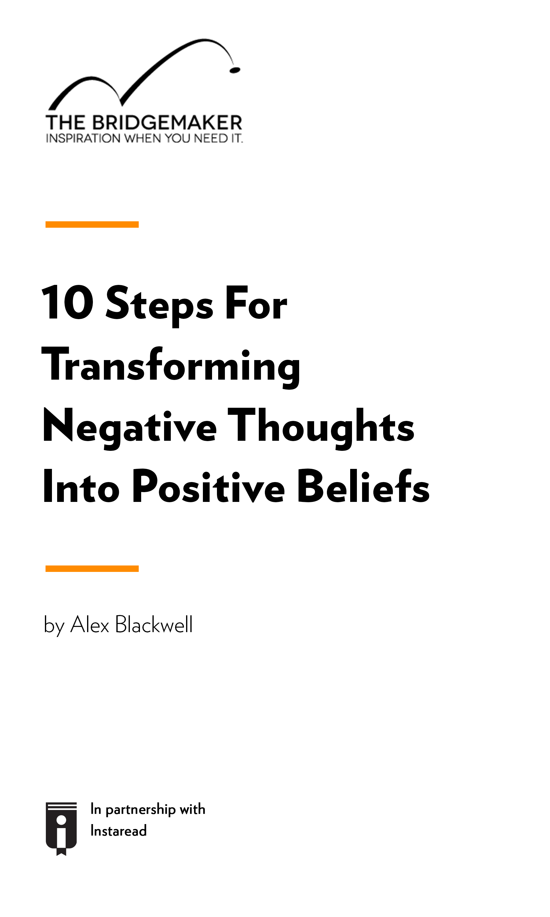 "Book Cover for ""10 Steps For Transforming Negative Thoughts Into Positive Beliefs"""