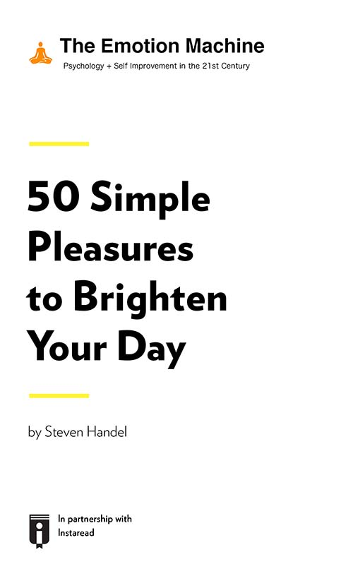 "Book Cover for ""50 Simple Pleasures to Brighten Your Day"""
