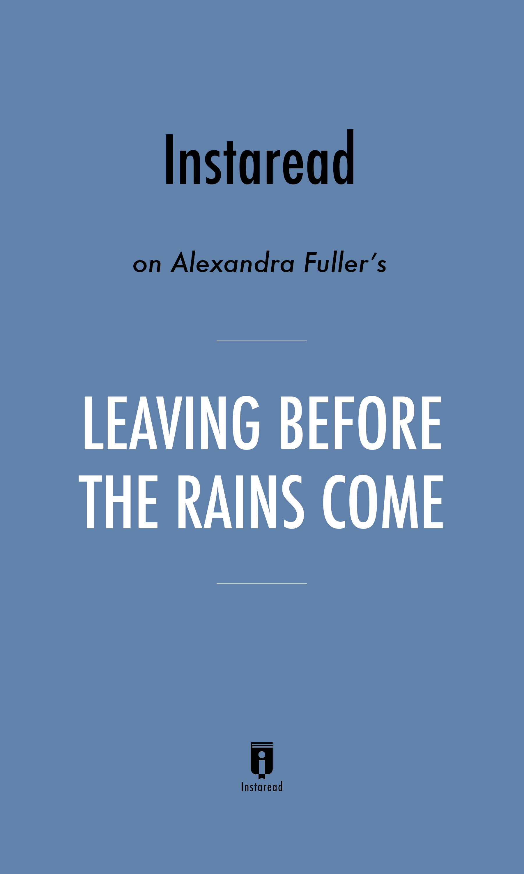 "Book Cover for ""Leaving Before the Rains Come"""