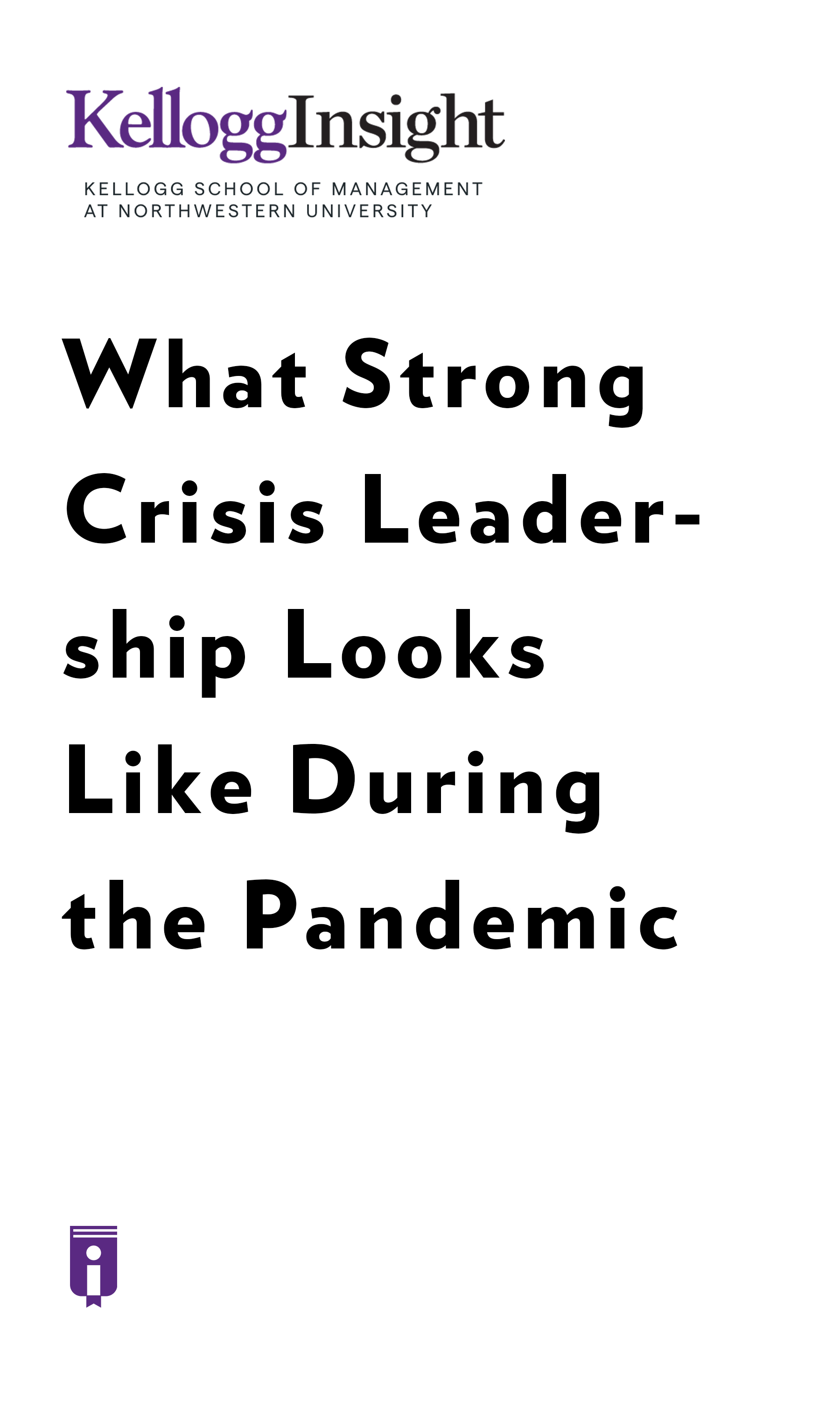 """Book Cover for """"What Strong Crisis Leadership Looks Like during the Pandemic"""""""