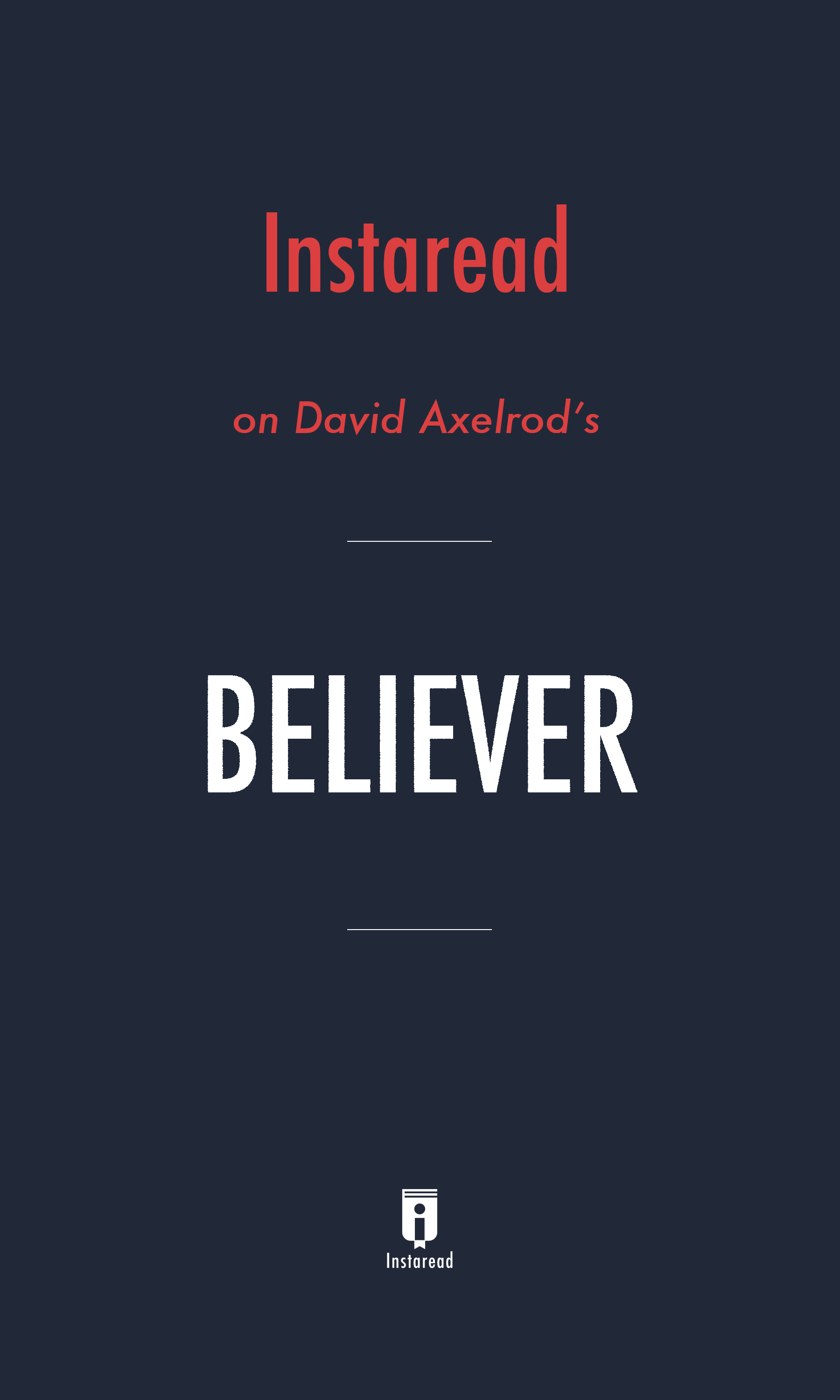 "Book Cover for ""Believer"""
