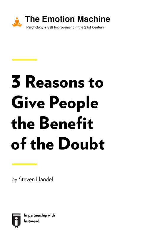 "Book Cover for ""3 Reasons to Give People the Benefit of the Doubt"""