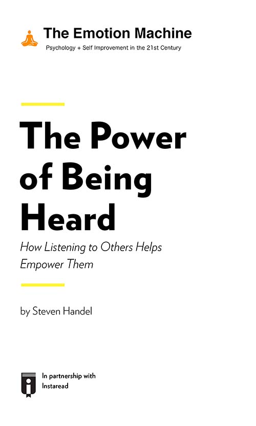 "Book Cover for ""The Power of Being Heard: How Listening to Others Helps Empower Them"""