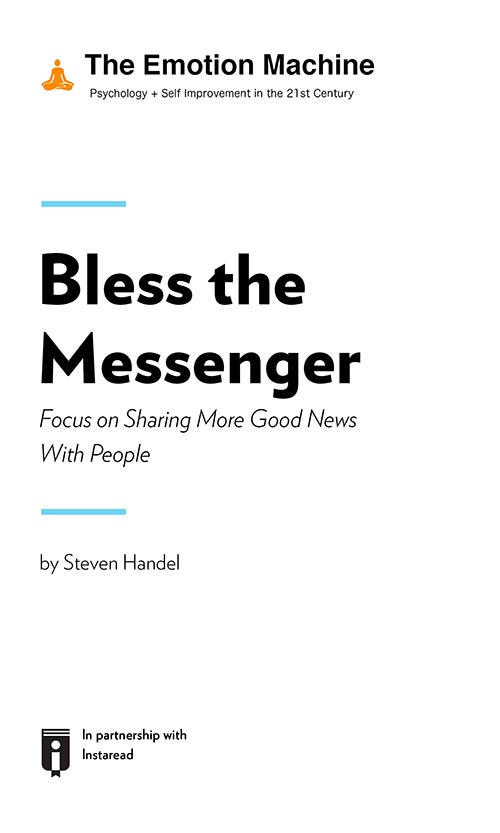 "Book Cover for ""Bless the Messenger: Focus on Sharing More Good News With People"""
